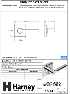 Product Data Specification Sheet Of A Harper Inactive / Dummy Contemporary Door Lever - Chrome Finish - Product Number 87743