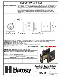 Product Data Specification Sheet Of A Keyed Single Cylinder Contemporary Deadbolt, Square Escutcheon - Venetian Bronze Finish - Product Number 87744