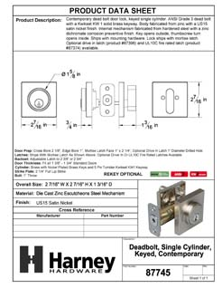 Product Data Specification Sheet Of A Keyed Single Cylinder Contemporary Deadbolt, Square Escutcheon - Satin Nickel Finish - Product Number 87745