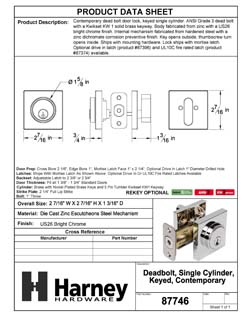 Product Data Specification Sheet Of A Keyed Single Cylinder Contemporary Deadbolt, Square Escutcheon - Chrome Finish - Product Number 87746