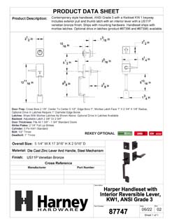 Product Data Specification Sheet Of A Harper Handleset With Interior Reversible Lever - Venetian Bronze Finish - Product Number 87747