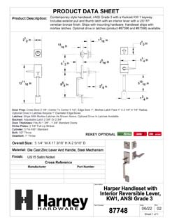 Product Data Specification Sheet Of A Harper Handleset With Interior Reversible Lever - Satin Nickel Finish - Product Number 87748