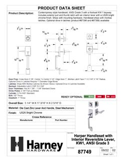 Product Data Specification Sheet Of A Harper Handleset With Interior Reversible Lever - Chrome Finish - Product Number 87749