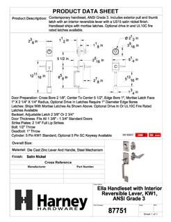 Product Data Specification Sheet Of A Ella Handleset With Interior Reversible Lever - Satin Nickel Finish - Product Number 87751
