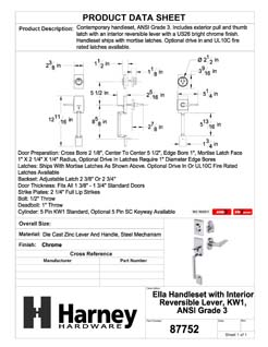 Product Data Specification Sheet Of A Ella Handleset With Interior Reversible Lever - Chrome Finish - Product Number 87752