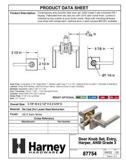 Product Data Specification Sheet Of A Harper Keyed / Entry Contemporary Door Lever Set - Satin Nickel Finish - Product Number 87754