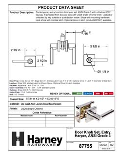 Product Data Specification Sheet Of A Harper Keyed / Entry Contemporary Door Lever Set - Chrome Finish - Product Number 87755