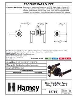 Product Data Specification Sheet Of A Riley Keyed / Entry Contemporary Door Lever Set - Matte Black Finish - Product Number 87756