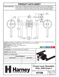 Product Data Specification Sheet Of A Riley Bed / Bath / Privacy Contemporary Door Lever Set - Matte Black Finish - Product Number 87757