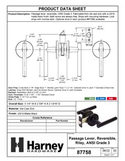 Product Data Specification Sheet Of A Riley Closet / Hall / Passage Contemporary Door Lever Set - Matte Black Finish - Product Number 87758