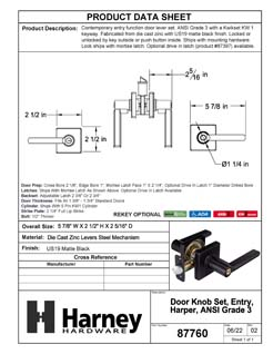 Product Data Specification Sheet Of A Harper Keyed / Entry Contemporary Door Lever Set - Matte Black Finish - Product Number 87760