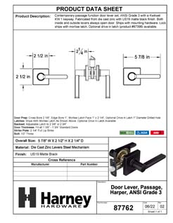Product Data Specification Sheet Of A Harper Closet / Hall / Passage Contemporary Door Lever Set - Matte Black Finish - Product Number 87762
