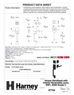Product Data Specification Sheet Of A Harper Handleset With Interior Reversible Lever - Matte Black Finish - Product Number 87764