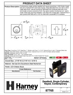 Product Data Specification Sheet Of A Keyed Single Cylinder Contemporary Deadbolt, Square Escutcheon - Matte Black Finish - Product Number 87765