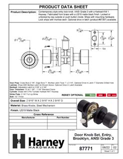 Product Data Specification Sheet Of A Brooklyn Keyed / Entry Contemporary Door Knob Set - Matte Black Finish - Product Number 87771