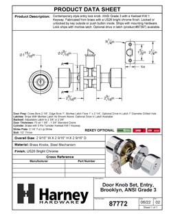 Product Data Specification Sheet Of A Brooklyn Keyed / Entry Contemporary Door Knob Set - Chrome Finish - Product Number 87772