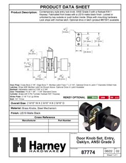 Product Data Specification Sheet Of A Oaklyn Keyed / Entry Contemporary Door Knob Set - Matte Black Finish - Product Number 87774