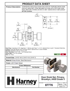 Product Data Specification Sheet Of A Oaklyn Bed / Bath / Privacy Contemporary Door Knob Set - Satin Nickel Finish - Product Number 87776