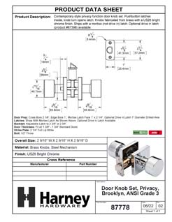 Product Data Specification Sheet Of A Oaklyn Bed / Bath / Privacy Contemporary Door Knob Set - Chrome Finish - Product Number 87778
