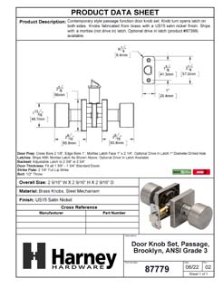 Product Data Specification Sheet Of A Oaklyn Closet / Hall / Passage Contemporary Door Knob Set - Satin Nickel Finish - Product Number 87779
