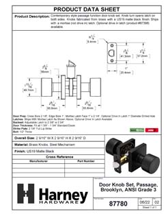 Product Data Specification Sheet Of A Oaklyn Closet / Hall / Passage Contemporary Door Knob Set - Matte Black Finish - Product Number 87780