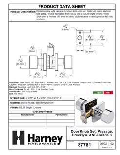 Product Data Specification Sheet Of A Oaklyn Closet / Hall / Passage Contemporary Door Knob Set - Chrome Finish - Product Number 87781
