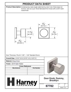 Product Data Specification Sheet Of A Oaklyn Inactive / Dummy Contemporary Door Knob - Satin Nickel Finish - Product Number 87782
