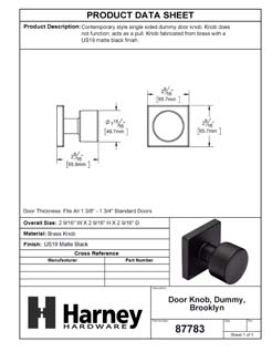 Product Data Specification Sheet Of A Oaklyn Inactive / Dummy Contemporary Door Knob - Matte Black Finish - Product Number 87783
