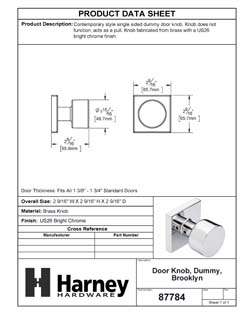 Product Data Specification Sheet Of A Oaklyn Inactive / Dummy Contemporary Door Knob - Chrome Finish - Product Number 87784
