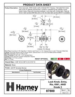 Product Data Specification Sheet Of A Rio Keyed / Entry Door Knob Set - Venetian Bronze Finish - Product Number 87800