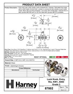 Product Data Specification Sheet Of A Rio Keyed / Entry Door Knob Set - Chrome Finish - Product Number 87802