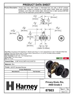 Product Data Specification Sheet Of A Rio Bed / Bath / Privacy Door Knob Set - Venetian Bronze Finish - Product Number 87803