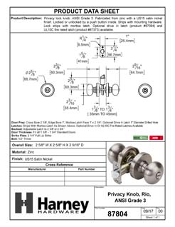Product Data Specification Sheet Of A Rio Bed / Bath / Privacy Door Knob Set - Satin Nickel Finish - Product Number 87804