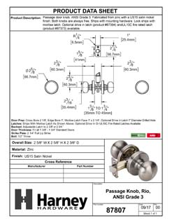 Product Data Specification Sheet Of A Rio Closet / Hall / Passage Door Knob Set - Satin Nickel Finish - Product Number 87807