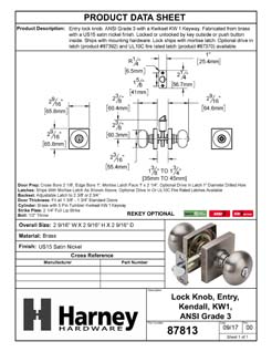 Product Data Specification Sheet Of A Door Knob Set Keyed / Entry Function Contemporary Style Kendall Collection - Satin Nickel Finish - Product Number 87813