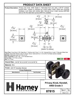 Product Data Specification Sheet Of A Kendall Bed / Bath / Privacy Door Knob Set - Venetian Bronze Finish - Product Number 87815