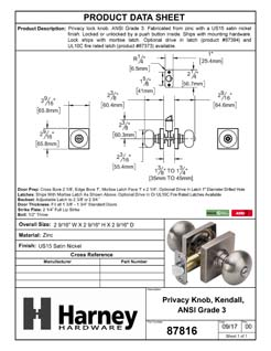 Product Data Specification Sheet Of A Kendall Bed / Bath / Privacy Door Knob Set - Satin Nickel Finish - Product Number 87816