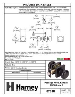 Product Data Specification Sheet Of A Door Knob Set Closet / Hall / Passage Function Contemporary Style Kendall Collection - Venetian Bronze Finish - Product Number 87818