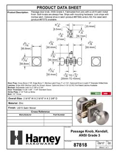 Product Data Specification Sheet Of A Door Knob Set Closet / Hall / Passage Function Contemporary Style Kendall Collection - Satin Nickel Finish - Product Number 87819
