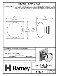 Product Data Specification Sheet Of A Kendall Inactive / Dummy Door Knob - Chrome Finish - Product Number 87823