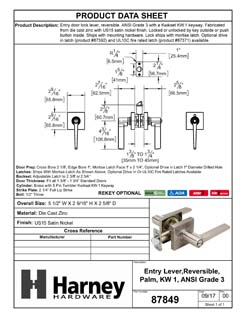 Product Data Specification Sheet Of A Door Lever Set Keyed / Entry Function Contemporary Style Palm Collection - Satin Nickel Finish - Product Number 87849