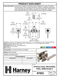 Product Data Specification Sheet Of A Palm Bed / Bath / Privacy Door Lever Set, Contemporary - Satin Nickel Finish - Product Number 87852