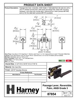 Product Data Specification Sheet Of A Palm Closet / Hall / Passage Door Lever Set, Contemporary - Venetian Bronze Finish - Product Number 87854