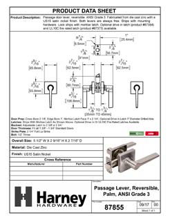 Product Data Specification Sheet Of A Door Lever Set Closet / Hall / Passage Function Contemporary Style Palm Collection - Satin Nickel Finish - Product Number 87855