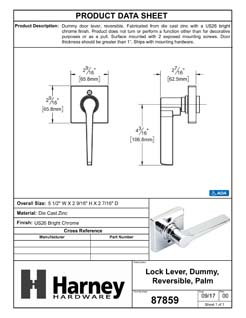 Product Data Specification Sheet Of A Palm Inactive / Dummy Door Lever, Contemporary - Chrome Finish - Product Number 87859