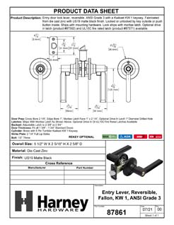 Product Data Specification Sheet Of A Door Lever Set Keyed / Entry Function Contemporary Style Fallon Collection - Matte Black Finish - Product Number 87861