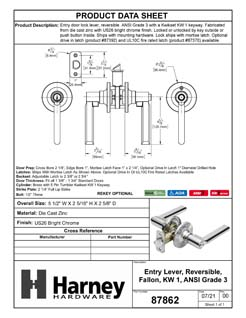 Product Data Specification Sheet Of A Door Lever Set Keyed / Entry Function Contemporary Style Fallon Collection - Chrome Finish - Product Number 87862
