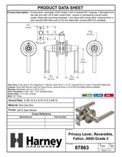 Product Data Specification Sheet Of A Door Lever Set Bed / Bath / Privacy Function Contemporary Style Fallon Collection - Satin Nickel Finish - Product Number 87863