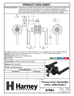 Product Data Specification Sheet Of A Door Lever Set Bed / Bath / Privacy Function Contemporary Style Fallon Collection - Matte Black Finish - Product Number 87864