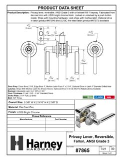 Product Data Specification Sheet Of A Door Lever Set Bed / Bath / Privacy Function Contemporary Style Fallon Collection - Chrome Finish - Product Number 87865
